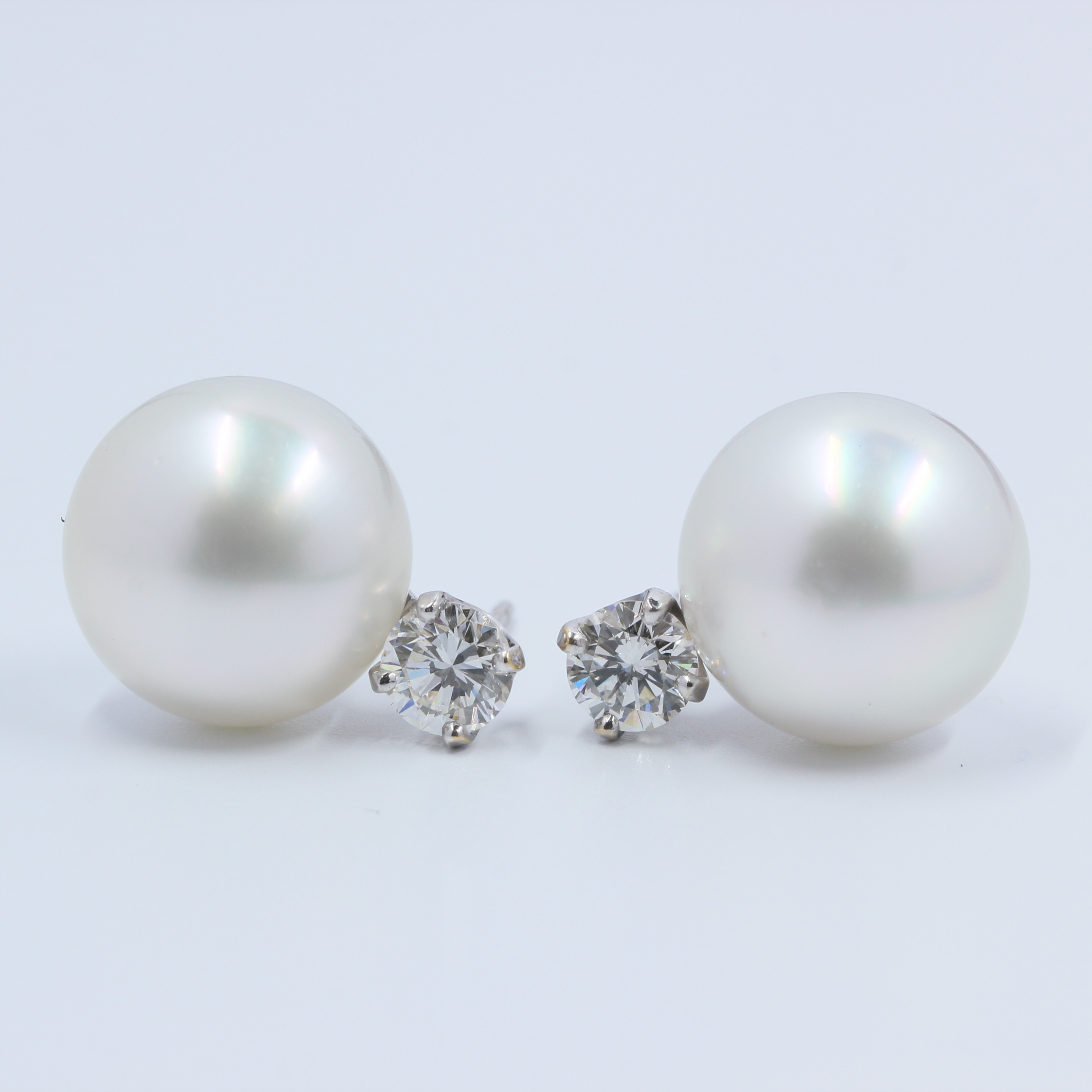 53b5949fc Details about 1 Carat in Beautiful Diamonds & Cultured Pearls Stud Earrings  in 14K White Gold